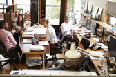Interior Of Busy Architect's Office With Staff Working — Stock Photo