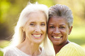 Two Mature Female Friends Hugging — Stock Photo