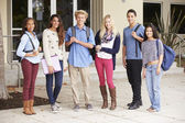 High School Students Standing Outside Building — Stock Photo