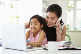 Busy Mother Working From Home — Stock Photo