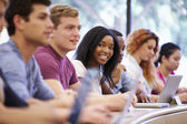 Class Of University Students Using Laptops In Lecture — Stock Photo