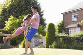 Asian Father And Daughter Playing In Summer Garden — Stock Photo