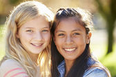 Portrait Of Two Pretty Girls In Countryside — Stock Photo