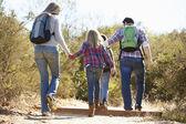 Zadní pohled na rodinnou turistiku ve venkovských nosit batohy — Stock fotografie