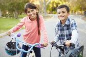 Two Children On Cycle Ride In Countryside — Stock Photo