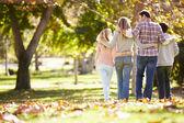 вид сзади семьи ходить через осенний леса — Стоковое фото