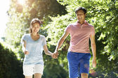 Romantic Asian Couple On Walk — Stockfoto