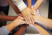 Hands From Young People Of Different Races Joined Together — Stock Photo