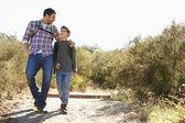 Pai e filho que caminham em campo vestindo mochilas — Foto Stock