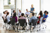 Businesswoman Addressing Multi-Cultural Office Staff Meeting — Stock Photo