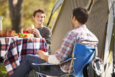 Father And Son Enjoying Camping Holiday In Countryside — Stock Photo