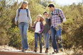Family Hiking In Countryside Wearing Backpacks — Foto Stock