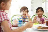 Three Asian Children Having Breakfast — Foto Stock