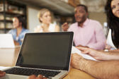 Close Up Of Laptop Being Used By Architect In Meeting — Stock Photo