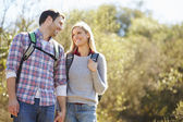 Couple Hiking In Countryside Wearing Backpacks — Stockfoto