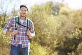 Portrait Of Man Hiking In Countryside Wearing Backpack — Stock Photo