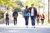 Student Couple Walking Outdoors On University Campus — Foto Stock