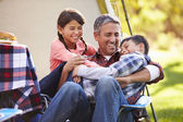 Father With Children Enjoying Camping Holiday In Countryside — Stock Photo