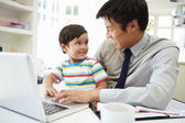 Busy Father Working From Home — Stock Photo