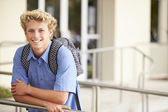 Male High School Student Outdoors — Stock Photo