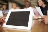 Digital Tablet Being Used By Architect In Meeting — Stok fotoğraf