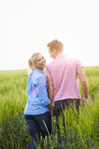 Romantic Couple Walking In Field — Stock Photo