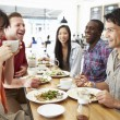 Group Of Friends Meeting For Lunch In Coffee Shop — Stock Photo