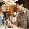 Couple Meeting In Busy Cafe Restaurant — Stock Photo #50475395