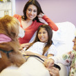 Young Girl Being Visited In Hospital By Therapy Dog — Stock Photo #50475841