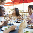 Group Of Friends Enjoying Meal At Outdoor Restaurant — Stock Photo #50476969