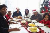 Multi Generation Family Enjoying Christmas Meal At Home — Foto de Stock
