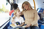 Mother And Son Going To School On Bus Together — Stok fotoğraf