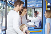 Family Boarding Bus And Buying Ticket — Foto de Stock