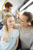 Family Enjoying Bus Journey Together — Stock Photo