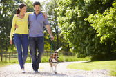 Hispanic Couple Taking Dog For Walk In Countryside — 图库照片