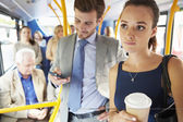 Passengers Standing On Busy Commuter Bus — Foto de Stock