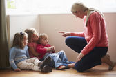 Mother Shouting At Young Children — Stock Photo