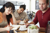 Customers In Busy Coffee Shop — Stock Photo