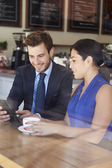 Businessman And Businesswoman Meeting In Coffee Shop — Stock Photo
