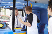 Passenger Arguing With Bus Driver — Stock Photo