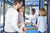 Family Boarding Bus And Buying Ticket — Stock Photo