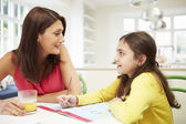 Mother Helping Daughter With Homework — Stockfoto