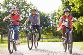 Hispanic Father And Children On Cycle Ride In Countryside — Stok fotoğraf