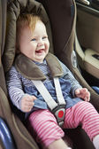 Baby Sitting Happily In Car Seat — Stock Photo