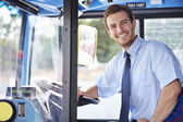 Portrait Of Bus Driver Behind Wheel — Stock Photo