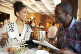 Couple Meeting In Cafe — Stock Photo