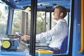 Portrait Of Bus Driver Behind Wheel — Stok fotoğraf
