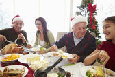 Multi Generation Family Enjoying Christmas Meal At Home — Stock Photo