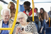 Interior Of Bus With Passengers — Stock Photo