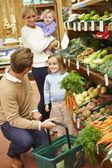 Familia elegir verduras frescas en la tienda de la granja — Foto de Stock